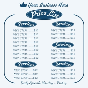 Price List Instagram na Post template