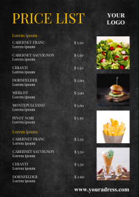Price List Food Restaurant Menu Card BBQ Ad