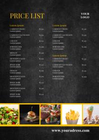 Price List Food Restaurant Menu Card BBQ Ad A4 template