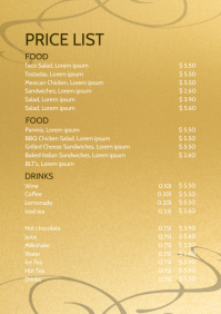 Price List Gold Menu Card Bar Restaurant Ad