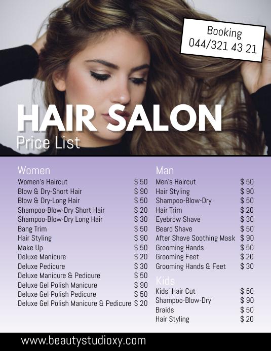 Price List Haircuts Salon Studion Beauty Spa