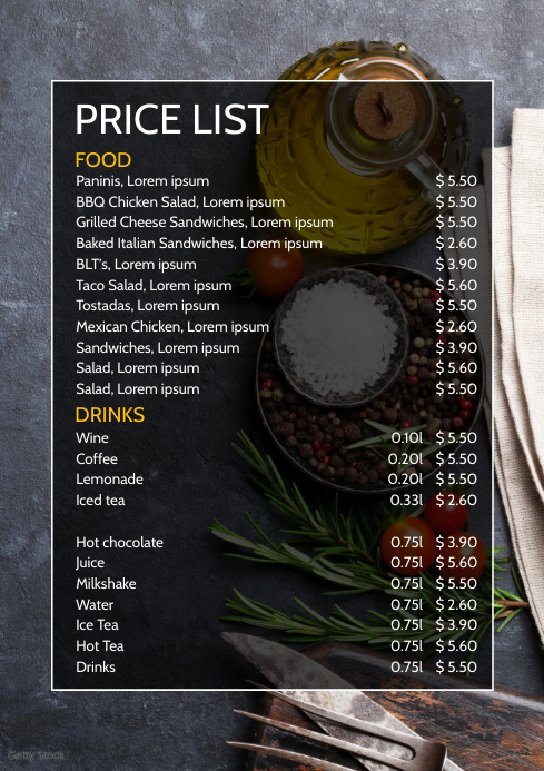 price list menu card drinks food offer flyer template