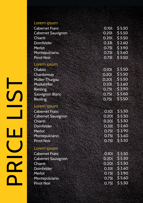 Price List Menu Card Drinks Food Offer Flyer A4 template