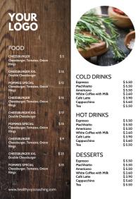 Price List Menu Card Wood Design Restaurant A4 template