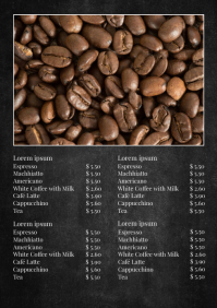 Price List Menu Coffee Shop Cafeteria Bar Ad A4 template