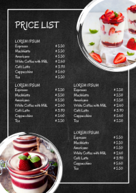 Price List Sweets Chalk Board Dessert Menu Ad A4 template