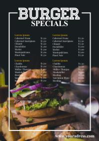 Price List Template Burg Card Menu Food Truck
