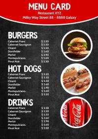 Price List Template Menu Card Food Drinks A4