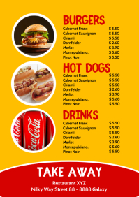 Price List Template Menu Card Food Drinks A4