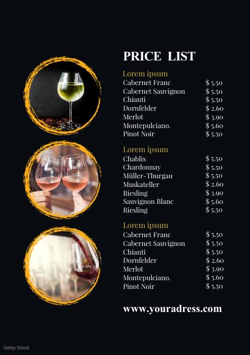 Price List Template Wine Card Menu Drinks Bar A4