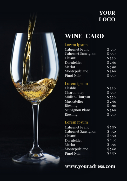 Price List Wine Card Menu Offers Flyer Bar