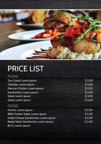 Price List Wood Table Menu Card Business Ad