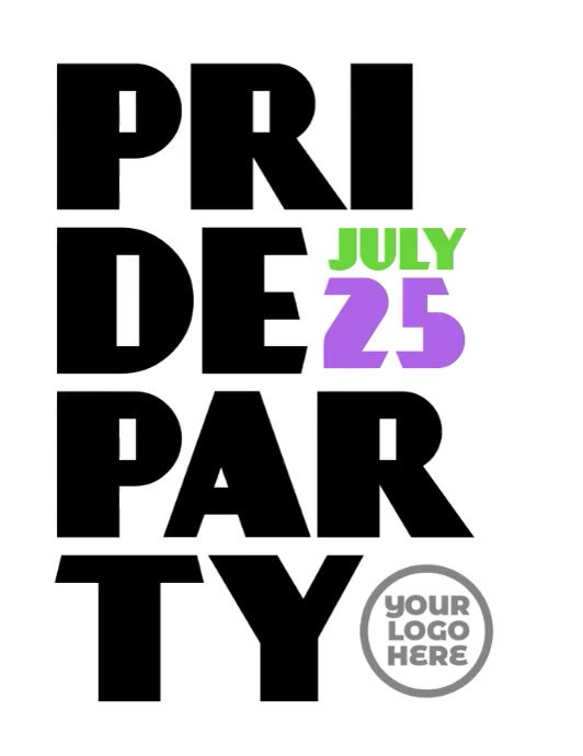 Pride Party LGBT Event Video Flyer Pamflet (Letter AS) template