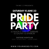 Pride Party Night explosion rainbow colors ad Square (1:1) template
