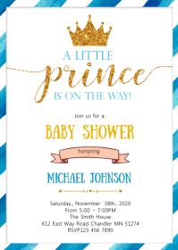 Prince baby shower party invitation