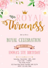 Princess 5th birthday party invitation