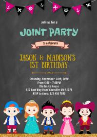 Princess and pirates birthday invitation A6 template