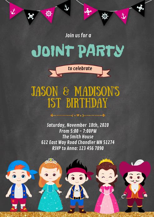 Princess and pirates birthday invitation