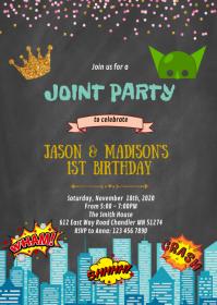 Princess and superheroes birthday invitation