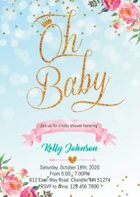 Princess baby shower party invitation