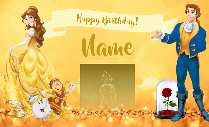 Princess Birthday Card US na Legal template