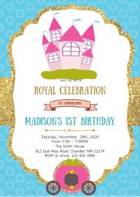 Princess birthday party invitation A6 template