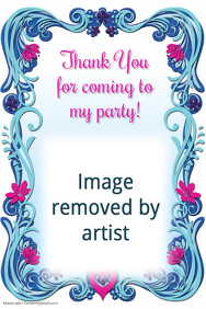 Princess Birthday Party Invitation Thank You Announcement