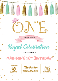 Princess first birthday invitation
