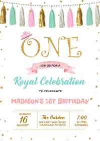 Princess first birthday invitation