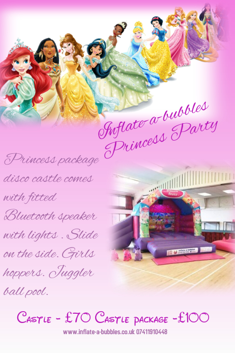Princess party advertising