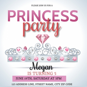 PRINCESS PARTY Event Flyer Template Vierkant (1:1)
