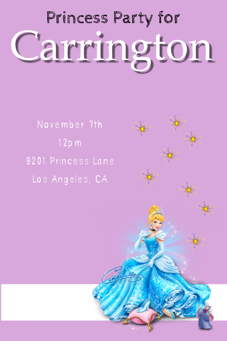 princess party invitation customize template