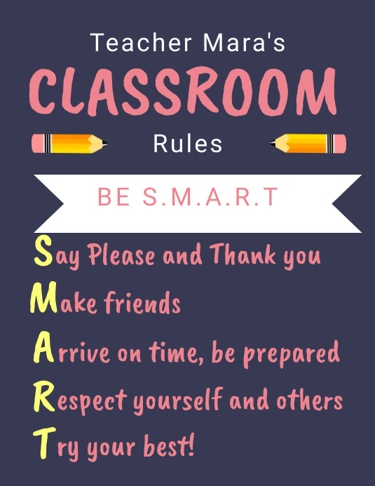 Printable Class Rules Poster Template in Black Folheto (US Letter)