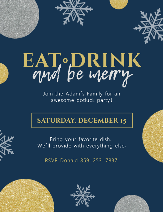 Printable Modern Christmas Potluck Flyer template