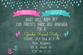 Prints Gender Reveal Invite Poster template
