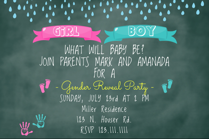 prints gender reveal invite template postermywall