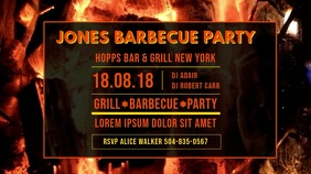 Private BBQ Party Invitation Video Template Ekran reklamowy (16:9)