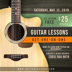 Private Guitar Lesson Class Advert Quadrado (1:1) template