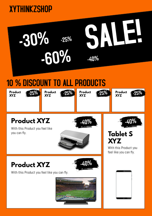 Product flyer promotion sale catalogue market a4 retail shop template