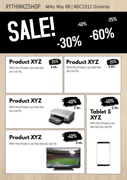 Product flyer promotion sale catalogue market a4 retail shop