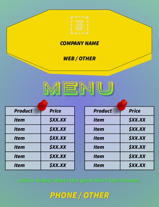 Product List/Menu Flyer (US Letter) template