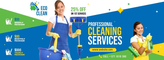 Professional Cleaning Services Ad Copertina Facebook template