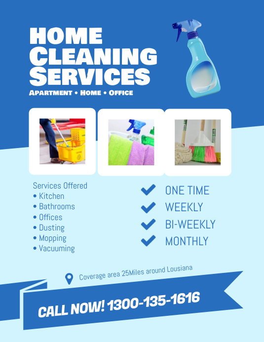 Professional Home Cleaning Services Flyer (US-Letter) template