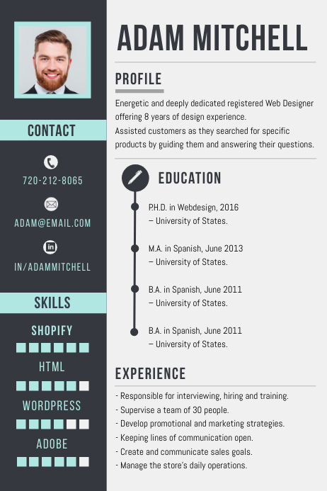 Professional Corporate CV Resume Design Affiche template