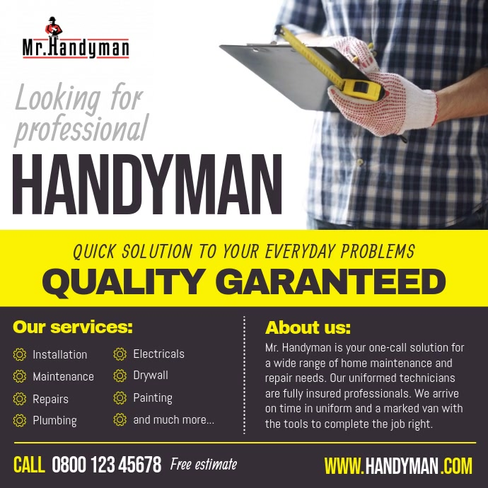 Professional Handyman Services Ad Square Vide template