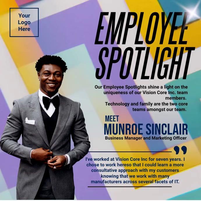 Professional Office Employee Spotlight Templa Сообщение Instagram template