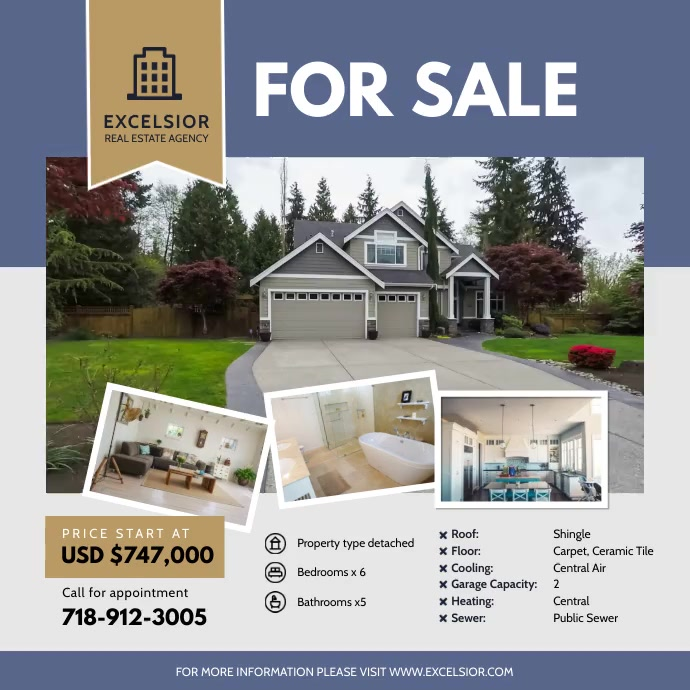 Professional Real Estate Agency Advertisement Square (1:1) template