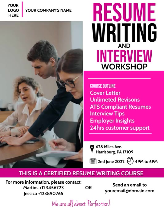 Professional Resume Writing Workshop Flyer Volante (Carta US) template