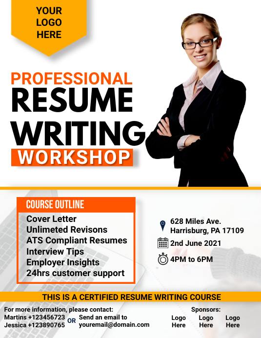 Professional Resume Writing Workshop Flyer template
