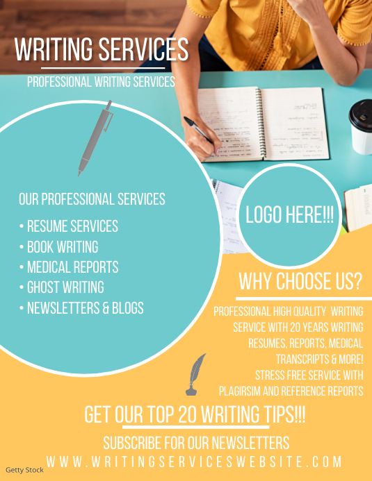 Professional Writing Service Flyer Ad template